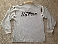 vtg 90s TOMMY HILFIGER XL Rugby Jersey Shirt - Gray Sailing Spell Out