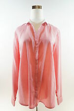 THE LIMITED Shimmery Striped Long Sleeve Concealed Button Down Shirt Sz L Coral
