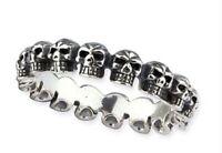Rocker Schmuck Ring of Skulls Totenkopfring 925 silber Bikerring Herren Geschenk