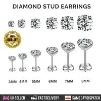 925 STERLING SILVER DIAMOND STUD EARRINGS ROUND CLEAR STONE ALL SIZES UK SELLER