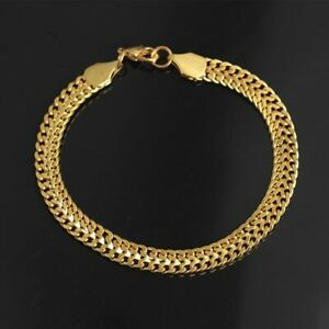 18k Real Gold Filled Elegant Mens Braclet 21cm