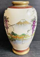 "Vintage Gold 5"" Hand Painted Japanese Satsuma Vase Wisteria Mount Fuji Temple"