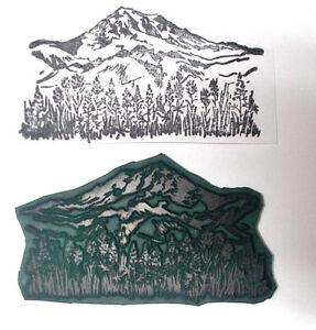Scenery mountain rubber stamp with flowers unmounted stamps scenic nature grass
