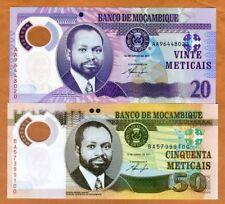 SET Mozambique, 20;50 Meticais 2011, P-149a-150a, POLYMER, UNC