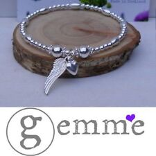 Sterling Silver Oval and round beaded Angel Wing & Heart Stretch Stack Bracelet