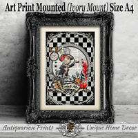 Mad Hatter Art Print on Antique Dictionary Book Page Decor Alice in Wonderland