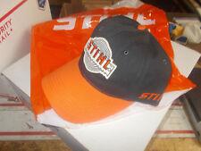 "Stihl Cap Black w Orange Bill ""Vintage Logo"" Saw baseball hat 8401699 #GL-SS4A"