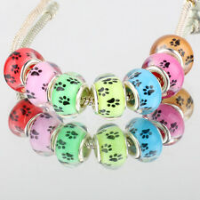 Mix color dog footprints 5pcs SILVER MURANO bead LAMPWORK For Charm Bracelet