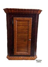 Primitive Tiger Maple Paint Decorated Corner Medicine-Spice Cabinet by R. Sykes