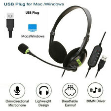 More details for usb noise cancelling headset headphones with microphone pc laptop call office uk