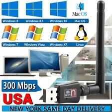 Mini 300Mbps USB2.0 Wireless WiFi Network Card Adapter with Antenna CD Driver US