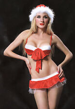 W3343 Red Christmas Sexy Mini Skirt & Bra Hat Set
