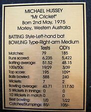 Cricket Michael Hussey Gold Plaque Free Post