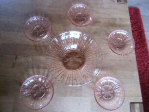 Rosalin Vintage Schale - Pressglas Puddingschale mit 5 Schälchen - Rosalinglas
