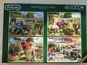 Falcon, De Luxe, set of 4 x 1000 pieces Jigsaw Puzzles, Seasons on the Farm