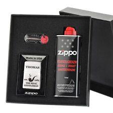 3-tlg. Sturmfeuerzeug-Geschenkset Zippo inkl. Gravur Motiv Real Gentleman