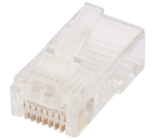 10 Pack RJ45 8P8C Cat5e Connector Plugs for Ethernet Network LAN Round Solid