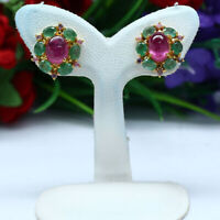NATURAL 5 X 7 mm. RED RUBY EMERALD & SAPPHIRE EARRINGS 925 STERLING SILVER
