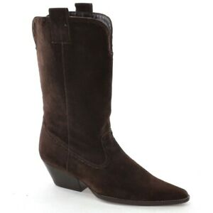 Ladies Michael Kors Cowboy Boots 6 M Brown Suede Pointy Toe Pull Up Shoes Italy
