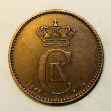 Denmark 2 Ore 1889 Extremely Fine Copper Coin - Semi Key Date
