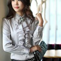 Career Long Sleeves Formal Tops High Neck Frilly Ruffle Womens Shirt Blouse dff
