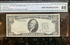 1977 $10 FRN GEM UNC ERROR OVERPRINT on BACK