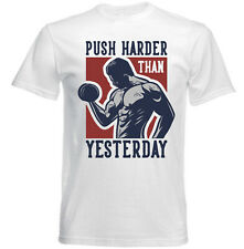BODY BUILDING PUSH HARDER THAN YESTERDAY - NEW COTTON T-SHIRT