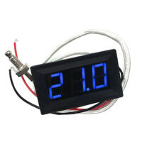 Digital DC Temperature Meter with Probe for K Type Thermocouple Blue LED 12V