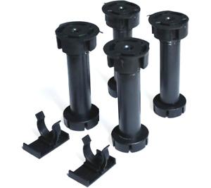 4 pcs 150 mm Kitchen Cabinet Plinth Feet Legs + 2 Clips Black Carcase Unit Legs