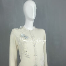 £850 NEW Matthew Williamson CASHMERE Knit Pearl Cardigan Jumper Size S UK10 US4