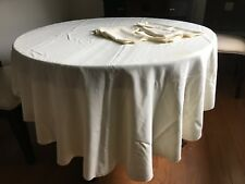 Vintage Tablecloth Oval Cream Table Linens with 8 Napkins Stains 80 in. long