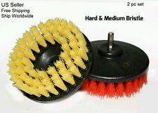 "2x Scrub Brush Upholstery Car Seat Carpet Mat 5"" Round w/ Power Drill Attachment"