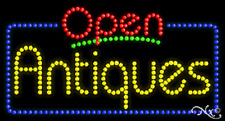 "New ""Open Antiques"" 32x17 Solid/Animated Led Sign W/Custom Options 25446"