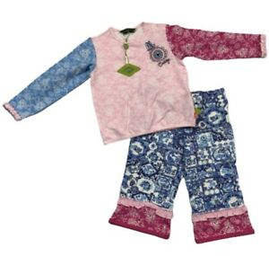 Oilily 2 Piece Girls Log Sleeve Top & Pants Set Size 98 Pink Blue Ruffles 3T NWT