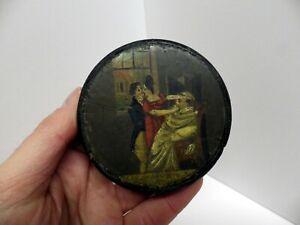 ANTIQUE/GEORGIAN HAND-PAINTED RISQUE PAPIER MACHE SNUFF BOX~EROTIC 'FOLK ART'