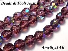 Czech Fire Polished Glass Bead 10mm Amethyst AB Czech Beads (25pc) BEADS & TOOLS