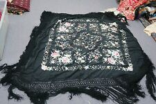 "Vintage Hand Embroidered Canton Chinese Piano Shawl Silk Floral 51""x16"" Macrame"