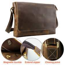 Retro Men's Real Leather 15.6'' Laptop Messenger Shoulder Bag Casual Cross Bag