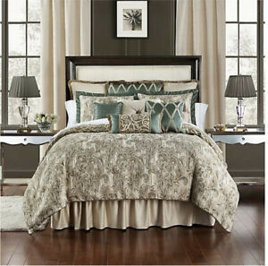 WATERFORD Fine Linens  Reversible King  COMFORTER SET Anora Brass/Jade $625