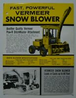 VERMEER Snow Blower 1960s dealer sheet brochure - English - Canada