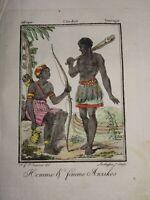 Gravure COSTUME COULEUR ANZIKO AFRIQUE  TIO AFRICA TYO TCHAD GABON 1806