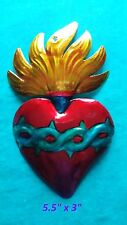 "Flaming Heart Perpetuo Socorro Mexican Handmade Painted Tin Milagro Art 5.5""x3"""