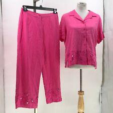 Sag Harbor 2 Piece top Set Capri Pant Linen Blend pink Bead Embroidery sz 12/14P