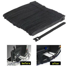 50pcs Reusable Black Nylon Strap Hook and Loop Cable Cord Ties Tidy Organiser