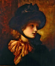 Oil painting Frederic Leighton Hand painted young girl Letty wearing black hat