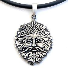 Green man Celtic Norse Viking Pagan Asatru Pewter Pendant W Black PVC Necklace