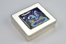 Sterling Silver Art Deco Covered Box with Enamel Rooster Scene Ruth Whitman 1924