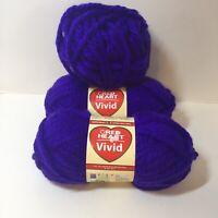 3 Skeins Vivid Yarn Red Heart Super Bulky Purple Pizzazz Acrylic 5 oz