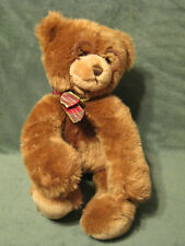 "GUND Booker Teddy Bear With Glasses 15"" Brown Plush Stuffed Toy Plaid Bow"
