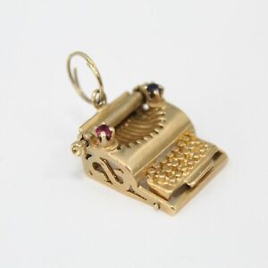 14K Yellow Gold Typewriter Pendant with Ruby & Sapphire 5.2 Grams